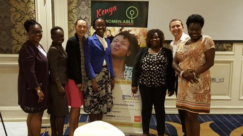 Women-able Kenya team with Barclays Bank officials after a meeting in Kenya 2017